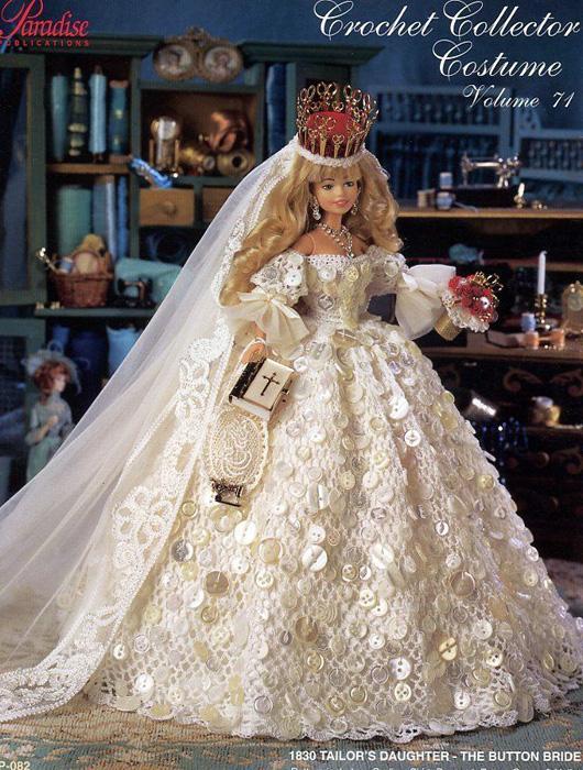 Свадебное платье украшенное пуговицами. Крючком