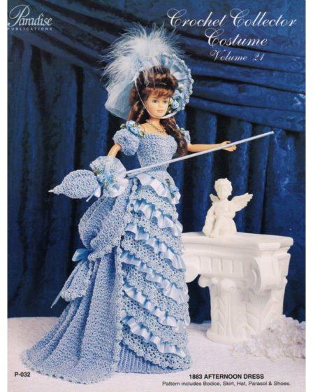 Голубой костюм в викторианском стиле. Крючком для Барби