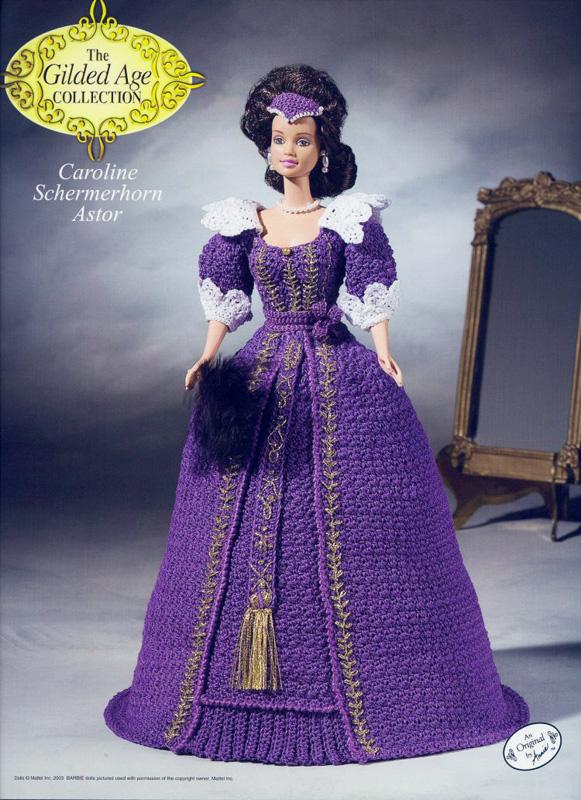 Платье Кэролайн Астор. Крючком для Барби