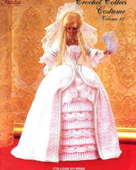 Платье невесты Людовика XYI. Крючком для Барби