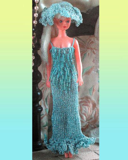 Бисерные платье и шляпка. Крючком и спицами