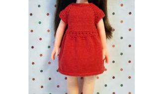 Распашное платье для куклы ростом 31 см