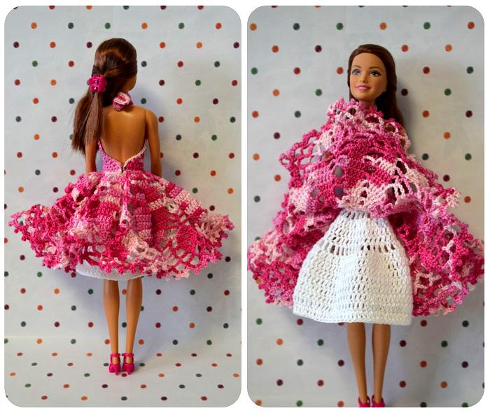 """Коктейльное платье """"Розовые грёзы"""". Крючком для куклы"""