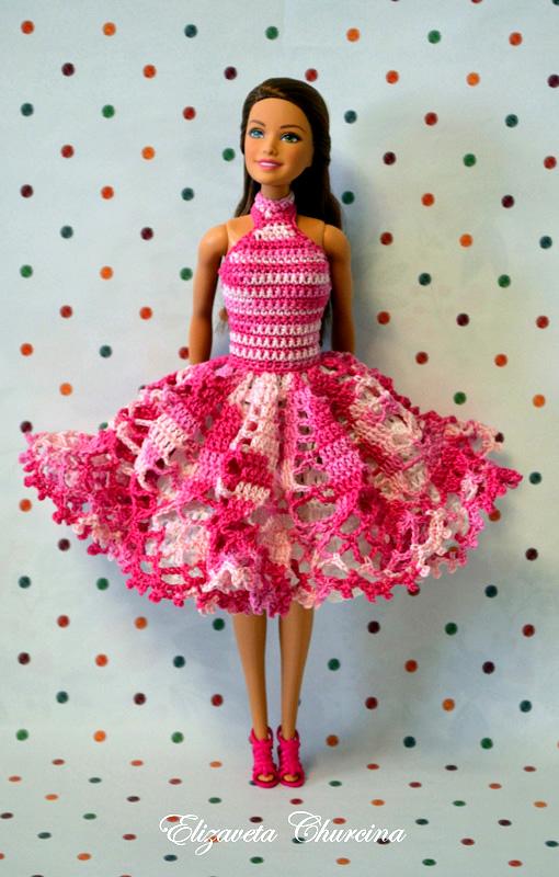"""Коктейльное платье """"Розовые грёзы"""". Крючком для Барби"""