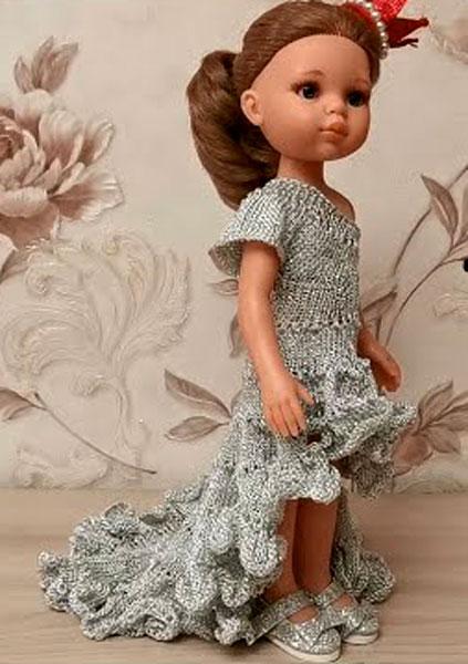 Серое нарядное вечернее платье. Спицами